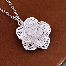 UK Silver Plated 3D Rose Flower Pendant Necklace with Gift Bag