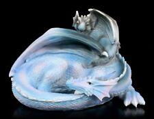 Drachen Figur Fantasy Drachenjunges Lindwurm Herz Deko Geschenk Blue Heart