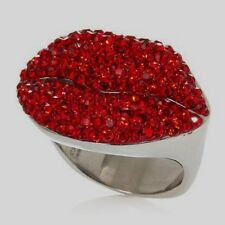 """HSN Sigal Style Round Cut Red Crystal Signature """"Lips"""" Ring Sz 7 $139"""