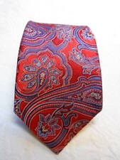NEW CREMIEUX COLLECTION HAND MADE TIE 100% SILK  RED BLUE SILVER PAISLEY