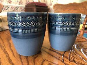 2 Midnight Blue Coffee Mug Threshold Stoneware Kingsland Diamond Pattern 12 oz
