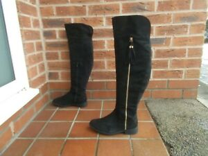 Black Suede Effect OVER KNEE Riding Style Boots * sz 5 uk * HARDLY WORN!