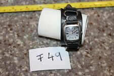 Women's FOSSIL JR-8184 Leather Band Strap Black Cuff Band Watch F49