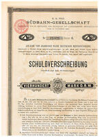 K.K. Priv. Südbahn-Gesellschaft, Wien 1885, 400 Mark D.R.W.
