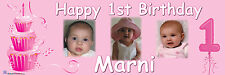 Personalised Party Photo Banner Kids Girls 1st Birthday banner Pink Baby banner