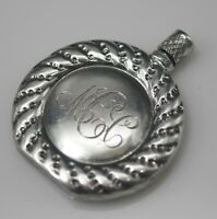 ANTIQUE VICTORIAN STERLING SILVER ROUND PERFUME BOTTLE FLASK MARKED