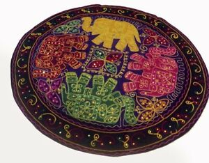 """32"""" PURPLE HAND EMBROIDERED ROUND WALL HANGING TAPESTRY FOLK GUJRATI ART TRIBAL"""