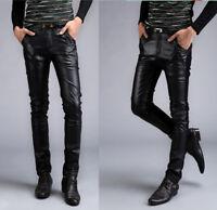 Pantaloni Finta Pelle Uomo Slim Fit Man PU Leather Pants PAMAN01 P