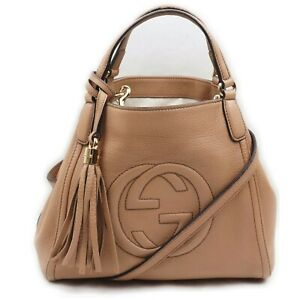 Gucci Hand Bag  Beiges Leather 1406994