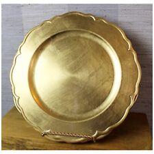4x RHINESTONE Beaded Diamante Silver Glass Charger Plate Weddings Christmas 33cm