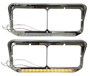 New Headlight Bezel Clear/Amber LED PAIR FOR Kenworth T400 T600 T800 W900B W900L