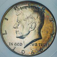 1966-P KENNEDY 40% SILVER HALF DOLLAR COLOR UNC WONDERFUL BU TONED GEM (DR)