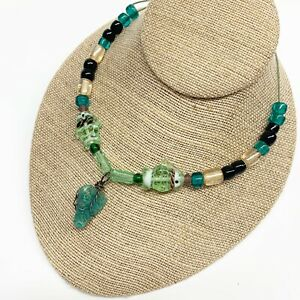 """Natural Teal Stone Glass Fish Beaded Necklace 30"""" Blue Green Naturalist Artisan"""