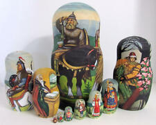 "10pcs Hand Painted Russian Nesting Doll Exclusive ""Knights"" by Semenova"