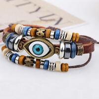 Fashion Men Women Retro Wrap Leather Antique Lucky Blue Evil Eye Charm Bracelet