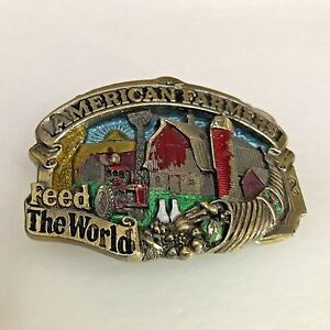 Vintage 1984 Farmers Feed the World Belt Buckle by Great American Buckle Company