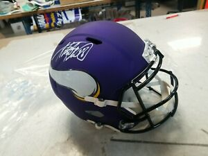 Adrian Peterson Autographed Minn Vikings F/S Speed Helmet- Beckett Auth *White