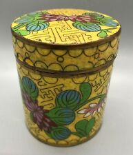 Antique Chinese Cloisonne Canister Humidor Tea Caddy Tobacco Jar Rose Flowers