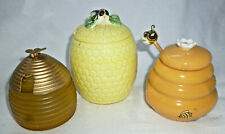 RETRO VINTAGE COLLECTION of 3 OLD HONEY JARS or POTS - 1960s & 1970s