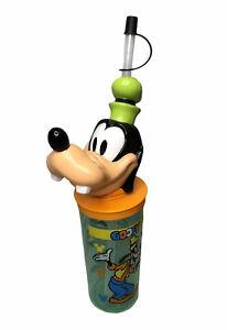 Disney Vintage Goofy Shape Beverage Bottle Cup W/ Straw