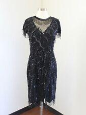 Vtg Laurence Kazar Black Silk Beaded Sequin Fringe Mesh Flapper Dress Party S