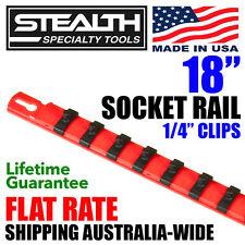 "STEALTH 18"" Socket Rail 1/4"" Twist Lock Clips Sockets Hanging Tool Holder Peg"