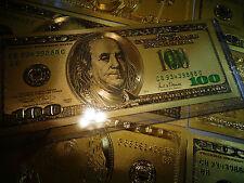 Lot of 3 - Rare 24 KT Gold Bill Set ($100)+ ($2)+($100 GREEN) each in pvc holder