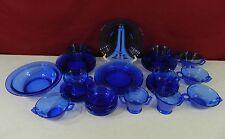 35 Piece Set Hazel AtlasTransparent Cobalt Blue Glass Moderntone Dinnerware
