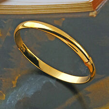 Women's Smooth Bangles Jewelry 9K Yellow Gold Plated Simple Bangle Bracelet