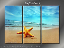 "Framed Huge 3 Panel Modern Art Summer ""Starfish Beach"""