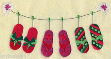 FLIP FLOP CHRISTMAS THEMED  SET OF 2 BATH HAND TOWELS EMBROIDERED by laura