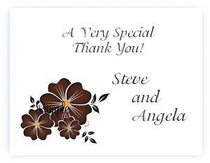 100 Personalized Custom Brown Floral Wedding Bridal Thank You Cards