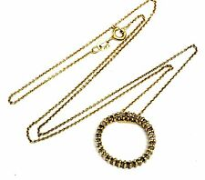 925 sterling silver gold plated .50ct SI3-I1 H diamond pendant necklace 3.6g 18""