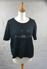 Calvin Klein Jeans Women's Crop Logo Black T-Shirt Short Sleeve Top UK Size XL