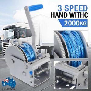3 Speed Hand Winch 2000KG/4410LBS Dyneema Rope Manual Car Boat Trailer 4WD AUS