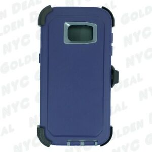 For Samsung Galaxy S7 Edge Defender Case w/ Clip fits Otterbox Navy Gray