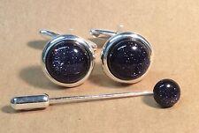 Blue Goldstone Cufflinks, (round, 16mm), with Cravat/Tie pin, in Silver finish.