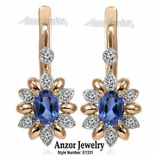 14k Rose and White Gold Genuine Diamond & Ceylon Sapphire Russian Style Earrings