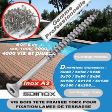 Vis terrasse inox A2 Torx Diamètre 3, 4, 5 et 6 mm