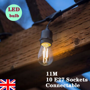 4x 11M Heavy Duty Outdoor String Lights Clear Glass LED Bulb Festoon Fence Light
