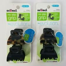 """Scunci No-slip Grip Double Teeth Jaw Clips, 2 pc Lot of 2 #37598-A 1.75"""" wide"""
