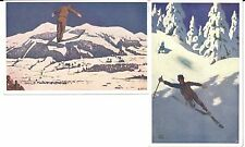 LOT: 2 VINTAGE OTTO BARTH ART POSTCARDS ALPINE SKIERS AIR-JUMP & DOWNHILL SNOW