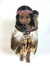 Vintage Jointed African American Tribal Plastic Doll & Baby Feather Cape Tattoo