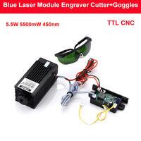 Focusable TTL CNC 5.5W 5500mW 450nm Blue Laser Module Engraver Cutter + Goggles