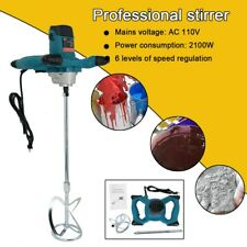 2100w Electric Concrete Cement Mixer Handheld Plaster Grout Paint Mortar Tool Us
