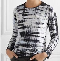 Markus Lupfer Top XS Blue Sophie Tie Dye Cotton Jersey Women's Long Sleeve