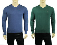 NEW MENS TOMMY HILFIGER V NECK LIGHT SOLID PIMA COTTON PULLOVER SWEATER