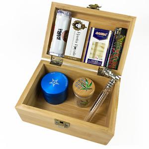 GStar NeverXhale Premium Bamboo Stash Box Combo Kit with Accessories