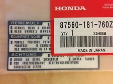 Honda CB CX XR XL CBX CM gas tank caution label sticker OEM BLACK