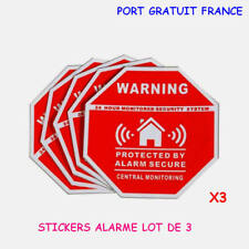 ALARME MAISON  STICKERS X 3 / VIDEO SURVEILLANCE / AUTO COLLANT STICKERS ALARME